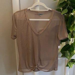 Sheer V-neck T-shirt